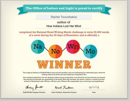 NaNoWriMo Winner 2012 Certificate
