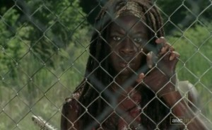 Finally; a vunerable Michonne (Danai Gurira) in AMC's The Walking Dead