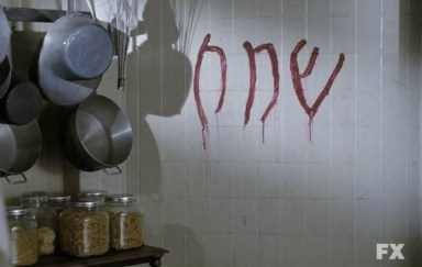 Shakai - the Angel of Death. Written on the wall in blood in Episode 7 of FX's American Horror Story: Asylum