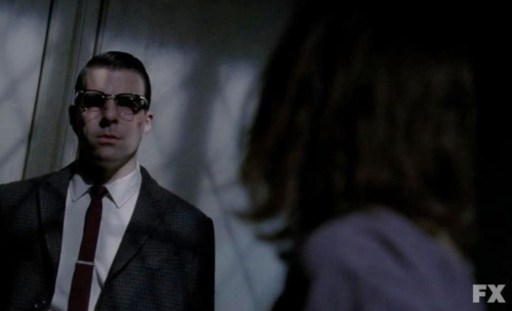 Dr. Thredson (Zachary Quinto) surprises Lana (Sarah Paulson) in Episode 8 of FX's American Horror Story: Asylum