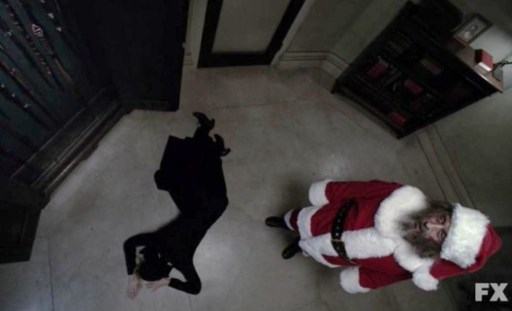 Killer Santa (Ian McShane) & Sister Jude (Jessica Lange) in Episode 8 of FX's American Horror Story: Asylum