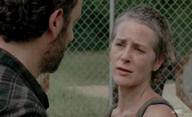 Rick (Andrew Lincoln) tells Carol (Melissa McBride) that Daryl (Norman Reedus) isn't coming home in episode 9 of AMC's The Walking Dead