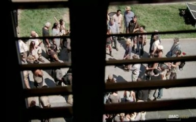 Andrea (Laurie Holden) calms the masses in episode 9 of AMC's The Walking Dead