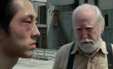 Hershal talks to Glenn in episode 10 of AMC's The Walking Dead