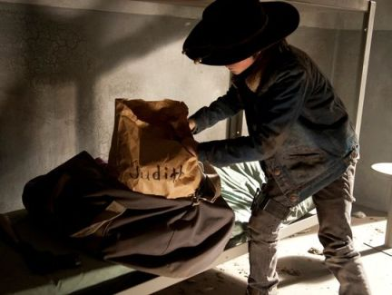 Season finale picture of Carl (Chandler Riggs) in AMC's The Walking Dead