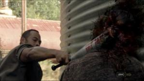 Martinez uses a baseball bat creatively in AMC's The Walking Dead