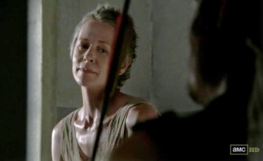 Carol (Melissa McBride) talks to Daryl Dixon (Norman Reedus) in episode 11 of AMC's The Walking Dead