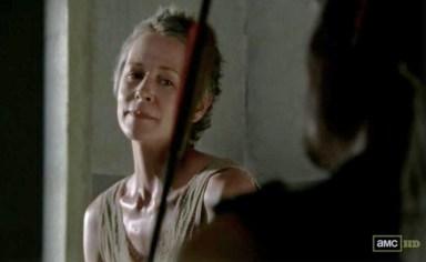 Carol (Melissa McBride) talks to Daryl Dixon (Norman Reedus) in episode 11 of AMC's The Walking Dead