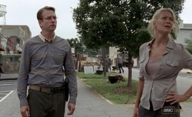 Andrea (Laurie Holden) and Milton (Dallas Roberts) in episode 11 of AMC's The Walking Dead