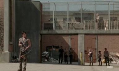 The prison crew say goodbye to Andrea (Laurie Holden) in episode 11 of AMC's The Walking Dead