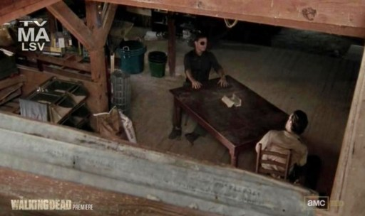The Governor (David Morrissey) and Rick (Andrew Lincoln) sit down for a chat in Episode 13 of AMC's The Walking Dead