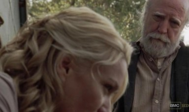 Andrea (Laurie Holden) talks to Hershel (Scott Wilson) in Episode 13 of AMC's The Walking Dead