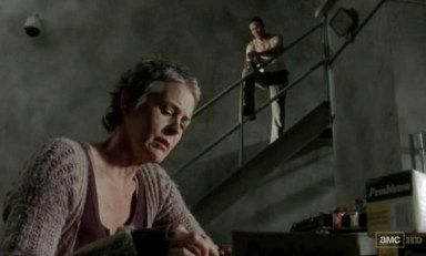 Carol (Melissa McBride) and Merle (Michael Rooker) chew the fat in Episode 15 of AMC's The Walking Dead