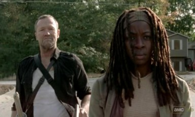 Merle (Michael Rooker) and Michonne (Danai Gurira) go on a road trip in Episode 15 of AMC's The Walking Dead
