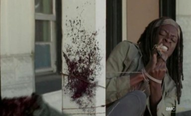 Michonne (Danai Gurira) kills zombies without using her hands in Episode 15 of AMC's The Walking Dead