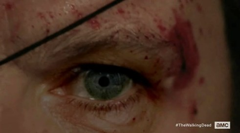 The Governor's (David Morrissey) good eye in episode 16 of AMC's The Walking Dead
