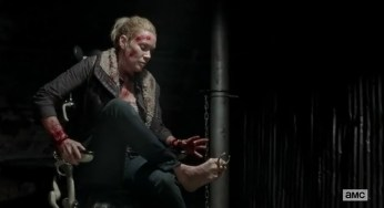 Andrea (Laurie Holden) uses her feet in Episode 16 of AMC's The Walking Dead