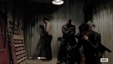 Rick (Andrew Lincoln), Tyreese (Chad Coleman) and Daryl (Norman Reedus) wait in Episode 16 of AMC's The Walking Dead