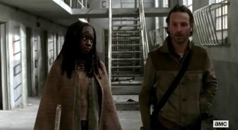 Rick (Andrew Grimes) and Michonne (Danai Gurira) sort things out in Episode 16 of AMC's The Walking Dead