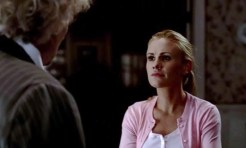 Sookie (Anna Paquin) gets shitty at grandpa Niall (Rutger Hauer) in HBO's True Blood Season 6, Episode 3, entitled 'You're No Good'