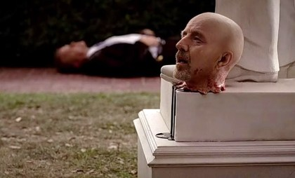 Governor Burrell (Arliss Howard) loses his head in HBO's True Blood Season 6, Episode 6, entitled 'Don't You Feel Me?'