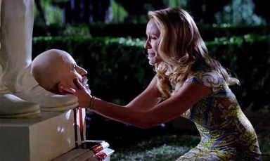 Srah Newlin (Anna Camp) chats to a beheaded Governor Burrell (Arliss Howard) in HBO's True Blood Season 6 Episode 7, entitled 'in the Evening'
