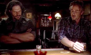 Alcide (Joe Manganiello) and Sam (Same Trammell are now were-besties in HBO's True Blood Season 6, Episode 8, entitled 'Dead Meat'