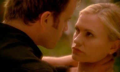 Sookie Stackhouse (Anna Paquin) discovers the truth about Warlow (Robert Kazinsky) in HBO's True Blood Season 6, Episode 10, entitled 'Radioactive'