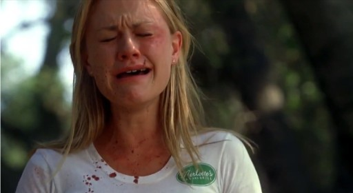 Sookie Stackhouse (Anna Paquin) crying over the fact that HBO hasn't renewed True Blood