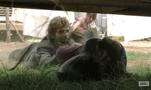 Meagan (Meyrick Murphy) gets attacked in AMC's The Walking Dead Season 4, Episode 7, entitled 'Dead Weight'