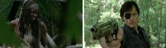 The Governor (David Morrissey) gets pissy at Michonne (Danai Gurira) for stealing his sunshine in AMC's The Walking Dead Season 4, Episode 7, entitled 'Dead Weight'