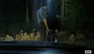 The Governor (David Morrissey) encounters a puddle-o-zombies in AMC's The Walking dead Season 4, Episode 7, entitled 'Dead Weight'