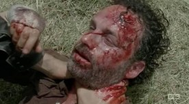Rick (Andrew Lincoln) nearly dies in AMC's The Walking Dead Season 4, Episode 8, entitled 'Too Far Gone'