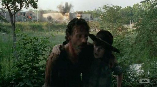 Rick (Andrew Lincoln) and Carl (Chandler Riggs) leave Old MacPrison's farm in AMC's The Walking Dead Season 4, Episode 8, entitled 'Too Far Gone'