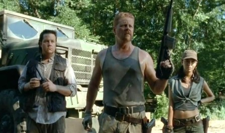 Say hello to Abraham Ford (Michael Cudlitz), Eugene Porter (Josh McDermitt) and Rosita Espinosa (Christian Serratos) in Season 4, Episode 10 of AMC's The Walking Dead