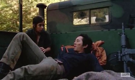 Glenn (Steven Yeun) and Tara (Alanna Masterson) star in Season 4, Episode 11 of AMC's The Walking Dead