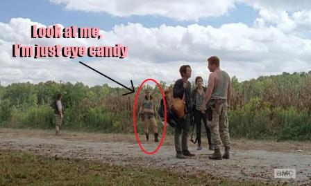 Rosita Espinosa (Christian Serratos) stands around and looks pretty in Season 4, Episode 11 of AMC's The Walking Dead