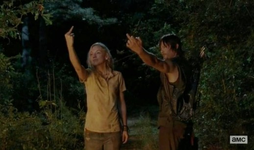 Beth (Emily Kinney) and Daryl Dixon (Norman Reedus) flips Daryl's past  the bird in Season 4, Episode 12 of AMC's The Walking Dead