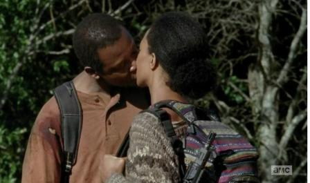 Bob (Lawrence Gilliard, Jr.) and Sasha (Sonequa Martin-Green) lock lips in Season 4, Episode 13 of AMC's The Walking Dead