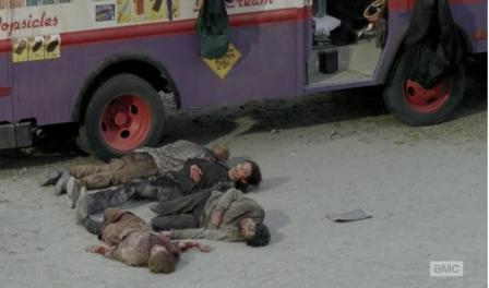 Maggie (Lauren Cohan) plays dead in Season 4, Episode 13 of AMC's The Walking Dead