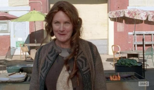 Mary greets the newcomers to Terminus in Season 4, EPisode 15 of AMC's The Walking Dead