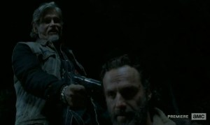 Joe (Jeff Kober) meets Rick (Andrew Lincoln) in the Season 4 finale of AMC's The Walking Dead.