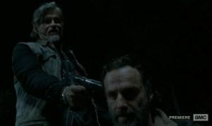 Joe (Jeff Kober) meets Rick (Andrew Lincoln) in the Season 4 finale of AMC's The Walking Dead.