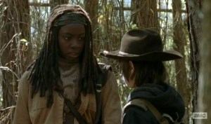 Michonne (Danai Gurira) and Carl (Chandler Riggs) chat in the Season 4 finale of AMC's The Walking Dead.