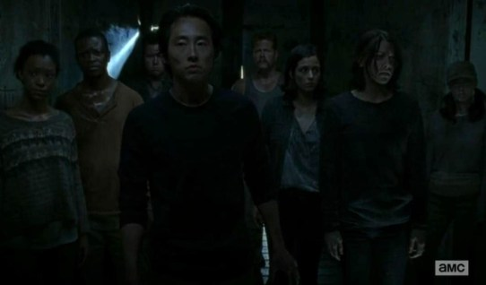 Rick (Andrew Lincoln) gets trapped but finds his friends in the Season 4 finale of AMC's The Walking Dead.