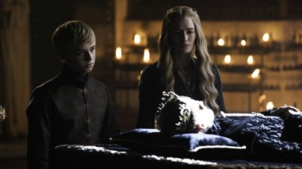 Cersei Lannister (Lena Headey) pins over her dead son, King Joffrey (Jack Gleeson) in Episode 3 (entitled 'Breaker of Chains') in Season 4 of HBO's Game of Thrones