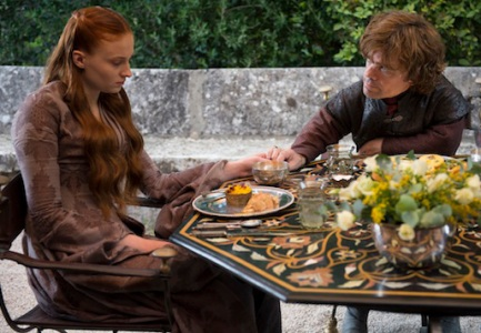 Sansa (Sophie Turner) and Tyrion (Peter Dinklage) play unhappy couples in Season 4, Episode 1 of HBO's Game of Thrones