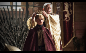 Tommen (Dean-Charles Chapman) gets crowned in Episode 5 (entitled 'First of His Name'), Season 4 of HBO's Game of Thrones