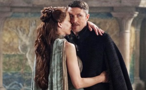 Lysa (Kate Dickie) and Littlefinger (Aiden Gillen) get their jiggy on in Episode 5 (entitled 'First of His Name'), Season 4 of HBO's Game of Thrones