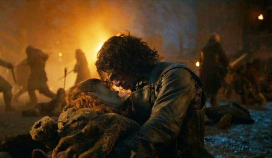 Jon Snow (Kit Harrington) and Ygritte (Rose Leslie) meet for hte last time in HBO's Game of Thrones Season 4, Episode 9 (entitled 'The Watchers on the Wall')